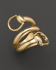 Gucci 18K Yellow Gold Horsebit Contraire Ring