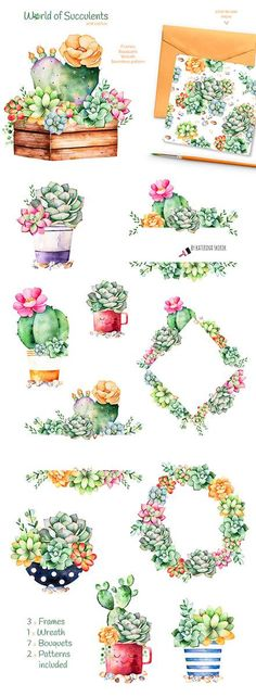 World of succulent and cactus high quality handpainted watercolor collection! Watercolor collection with bouquets, patterns, wreath and frames invitation! This elements can be used as wedding invitations, patterns, blogs, greeting cards, photos, posters, quotes and also combine Watercolor Quote, Watercolor Plants, Watercolor Projects, Watercolor Animals, Watercolour Painting, Painting & Drawing, Watercolors, Succulent Frame, Colored Pencil Techniques