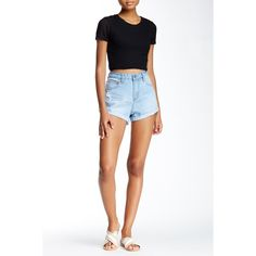 On Twelfth Vintage Roll Cuff Short ($24) ❤ liked on Polyvore featuring shorts, colton light wash, distressed shorts, vintage shorts, destroyed shorts, cotton shorts and zipper shorts