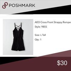 New American Eagle Romper Super soft black romper. Can be worn up or down! Runs big American Eagle Outfitters Dresses Mini