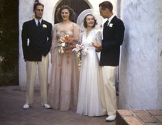 Early 1940s wedding groomsmen wearing ivory and black dinner jackets
