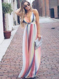 ced3251c4e Sukienka letnia maxi w kolorowe grube paski Trend Trendy Top Summer Clothes  Makeup Outfits Shirts Shoes Pants