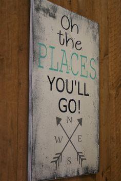 Oh The Place You'll Go Wood Sign Boys Nursery Decor Tribal Nursery Arrow Sign Navy and Mint Nursery Baby Gift Handmade Handpainted