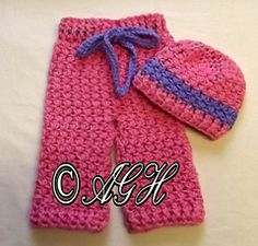 Ravelry: Daisy Baby Pants and Hat pattern by ag handmades.....all of her patterns are free today....