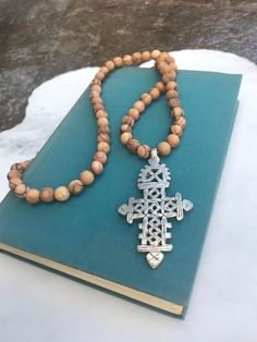 Long Beaded Necklace, Olive Wood Bead Necklace Silver Coptic Cross Necklace Ethiopian Cross Pendant Necklace Bethlehem Wood Necklace Boho