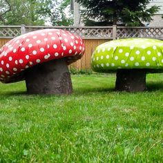 Green and red mushroom garden stools - perfect for the backyard