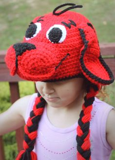 Clifford the Big Red Dog Costume, Crochet Earflap Hat for Baby, Toddler, Child and Adult, Clifford Costume, Birthday Party Hat, Photo Prop