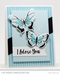 12 April 2017 | Confessions of a Ribbon Addict | My card today features the gorgeous Beautiful Butterflies stamp set and Die-namics and You Give Me Butterflies stamp set. The layered butterflies were stamped with the help of the MISTI. The back panel was cut from Dots & Stripes patterned paper pack.