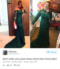 when young women obsess over getting the perfect dress. Ordering a dress online can lead to devastating consequences. Here is a selection of some of the best internet prom dress fails out there. Worst Prom Dresses, Prom Dress Fails, Ugly Dresses, Prom Dresses Online, Formal Dresses, Dress Online, Funny Prom, Dinosaur Wedding, Online Shopping Fails