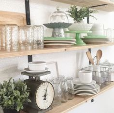 Rustic farmhouse style   Open shelves