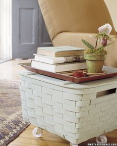 Great idea or picnic baskets from garage/thrift finds.