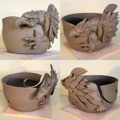 Griffin yarn bowl. Unfired. I have only made one of these before which usually means the second is always a tad better. A few improvements on the beast here and there most notably the gripping claws and a bigger wing. This is currently available to order at earthwoolfire.etsy.com earthwoolfire@gmail.com