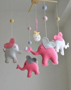 baby mobile basteln mobile kinderbett filztiere elefanten