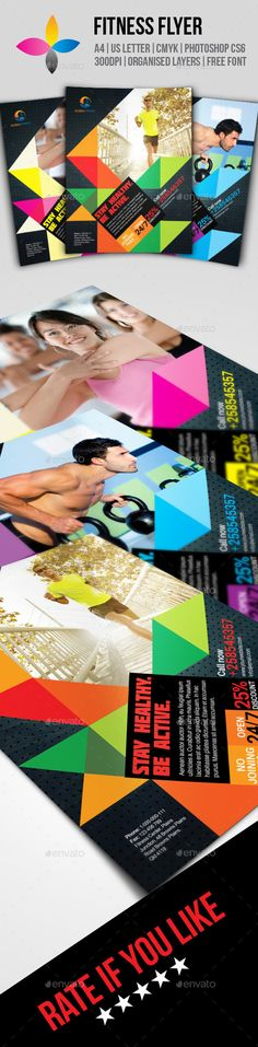 Fitness Flyer by inddesigner A4 8.2677x11.6929 US Letter 8.5x11 Bleed 5 mm Photoshop CS6 300dpi CMYK Aileron: http://dotcolon.net/font/aileron/ Molot: h