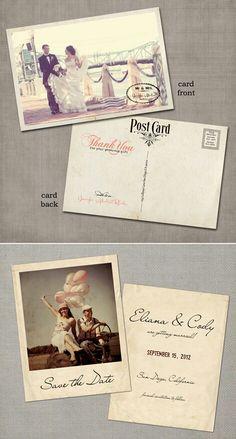 Vintage postcard wedding invititation