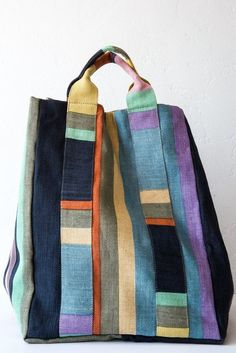 Jute and Cotton Bag; retail bag, no pattern Patchwork Bags, Quilted Bag, Handmade Handbags, Handmade Bags, My Bags, Purses And Bags, Linen Bag, Denim Bag, Cotton Bag