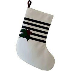 Simply Daisy 9 x 16 Holly Stripe Decorative Holiday Stripe Print Stocking