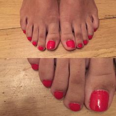Full Pedicure with Red Gel Polish