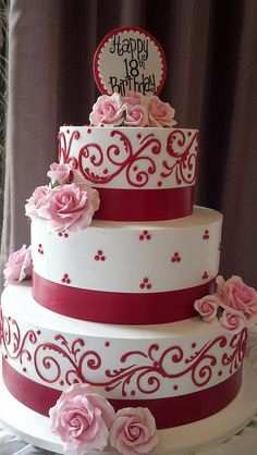 Red Piping 18th Birthday Cake My Cakes For Women 90th