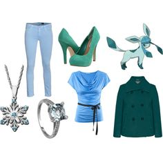 Glaceon outfit by sselene on Polyvore featuring H&M, Alexon, AG Adriano Goldschmied, Steve Madden, glaceon, pokemon and inspired outfit