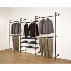 Pipeline Outrigger Wall Unit, Set of Anthracite Grey - Price is for a Set of two slotted posts. This retail outrigger is a part of Capitol Hardware - Diy Clothes Rack Pipe, Hanging Clothes Racks, Diy Pipe Shelves, Plumbing Pipe Shelves, Pipe Shelving, Wooden Shelves, Shelves With Pipes, Display Shelves, Pipe Closet