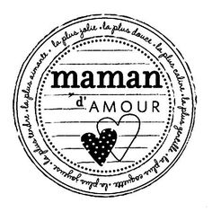 Tampon bois - Maman d'amour - 5,3 x 5,3 cm