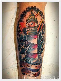 Arm New School Lighthouse Wave Tattoo by Elektrisk Tatovering