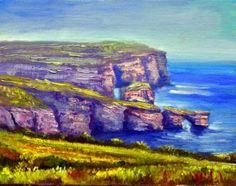 Oil on canvas View of Dwejra, Gozo
