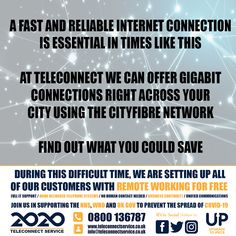 A fast and reliable internet connection is essential in times like this. At Teleconnect, we can offer gigabit connections right across your city using the CityFibre network. Contact us today to find out what you could save. Leeds, Budgeting, How To Find Out, Connection, Internet, Times, City, Business, Budget Organization