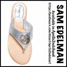 """❗️1-HOUR SALE❗️SAM EDELMAN LEATHER SANDALS Flats SAM EDELMAN SANDALS Flats 💟NEW WITH TAGS💟Retail: $120   * Thong toe & slip on style,topstitched detail  * Silver-tone logo on the gladiator style metallic leather vamp  * Slip on style  * Approx. 1"""" stacked heel, ballet flat  * Open toe w/metallic logo footbed ( not pointy toe )  * True to size.                                            Material:Leather upper/sole Color:Silver Item:SE9690 Embellished  🚫No Trades🚫 ✅ Offers Considered*✅…"""
