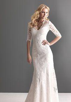 Sheath/ Column Lace Queen Anne Sleeveless Floor Length Retro Wedding Dresses - Lunadress.co.uk