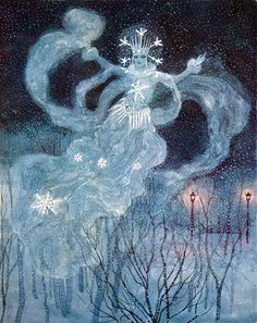 """The Snow Queen. From """"Andersen's Fairy Tales"""" illustrated by Artuš Scheiner (1934)"""
