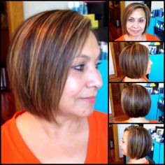 Slightly dropped bob with rich chocolate browns and warm highlights