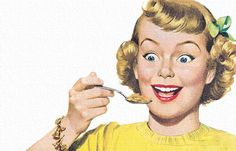 1950s cereal advertising illustration.