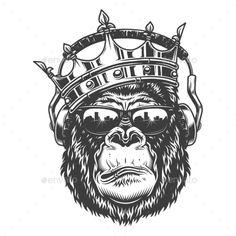 Buy Gorilla Head in Monochrome Style by imogi on GraphicRiver. Gorilla head in monochrome style in crown and glasses and headphones. Monkey Art, Monkey King, Monkey Food, Vector Graphics, Vector Free, Gorilla Tattoo, Tattoo Symbole, Tattoo Zeichnungen, Monochrome Fashion