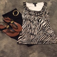 💋💋White House Black Market SALE🎉🎉 WHBM sz XS (fits more like a small!) animal print top! Beautiful top, gently worn, no signs of wear! Cute gold bead accents at the shoulder, scoop neck with draping! Fully lined and material has stretch for a super flattering look! White House Black Market Tops Blouses