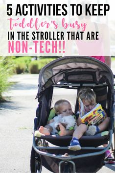 Love that these are non-tech ideas!! I don't want my kids just watching shows, but it is so hard to keep them entertained for more than 15 minutes!! Totally trying these ideas, and I love her jogging stroller! #ad #babytrendfamily #fitmom @babytrend
