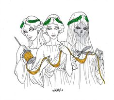 Inktober Day 19 Clotho Atropos and Lachesis Greek Mythology Tattoos, Greek Mythology Art, Roman Mythology, Fate Tattoo, Greek Creatures, Atlas Tattoo, Grace Tattoos, Evil Clowns, Principles Of Art