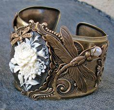 Dragonflies and Flowers cuff by Aranwen on deviantART