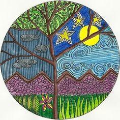 Zendala http://randomveracity.blogspot.com/2010/04/zendala-madness.html  Trace a CD! Many beautiful zendala on this blog