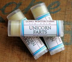 """Unicorn Farts Lip Balm by LongWinterSoapCo on Etsy - """"Smells just exactly like real imaginary unicorn farts! Which smell like spearmint and pink cotton candy, everybody knows that."""" - Too funny!! Love the idea of lip balm that makes you laugh and your lips soft at the same time!"""