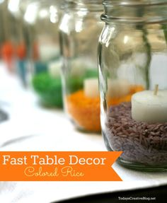 Easy Easter table decor or easy kids craft! Colored Rice is your new best friend!
