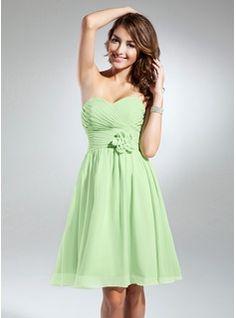 A-Line/Princess Sweetheart Knee-Length Chiffon Bridesmaid Dress With Ruffle Flower(s) (007051838) - JJsHouse