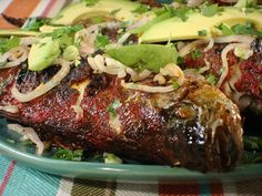 Whole Grilled Achiote Striped Bass with Spicy Pickled Red Onions Recipe from Grill It with Bobby Flay