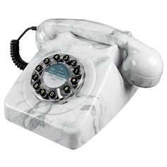 Wild and Wolf 746 Marble Push Button Telephone Retro Phone Telephone Retro, Retro Phone, Old Phone, Red Candy, Marble Pattern, Fibre, Stone Heart, Home Living, Living Room