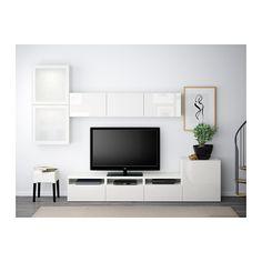 BESTÅ TV-Komb. mit Vitrinentüren - weiß/Selsviken Hochglanz/Frostglas weiß, Schubladenschiene, Drucksystem - IKEA