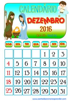 Calendário 2016 - Dezembro