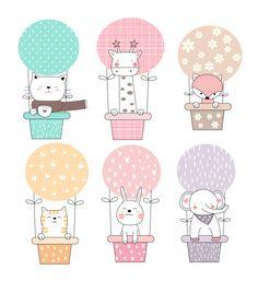 Cute baby animal with balloon cartoon hand drawn Vector Image – Alena Litvin - Baby Animals Cartoon Cartoon, Cute Cartoon Characters, Ballon Illustration, Cute Illustration, Baby Animal Drawings, Cute Drawings, Wallpaper Iphone Cute, Cute Wallpapers, Tier Doodles