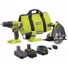 RYOBI PCK101KN 18-Volt ONE+ Lithium-ion Cordless 3-Tool Combo Kit $149 (56% off) @ Home Depot Cordless Tools, Tools Hardware, Light Beam, Drill Driver, 3 In One, Going Home, Get The Job, Home Improvement Projects, Home Depot