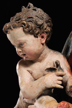 Antonio Begarelli - Madonna del Cardellino (goldfinch) detail, terracotta policroma - Verica (Modena), chiesa parrocchiale
